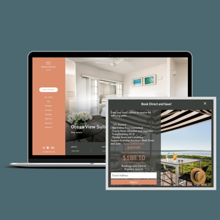 Mangrove Hotel Why Book Direct Widget on laptop screen