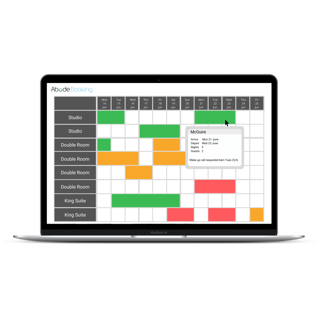 Stylised representation of Abode PMS Calendar screen.