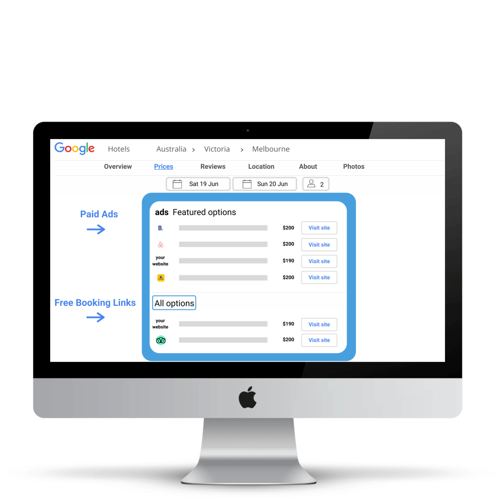 Desktop screen with stylised representation of Google Free Booking Links